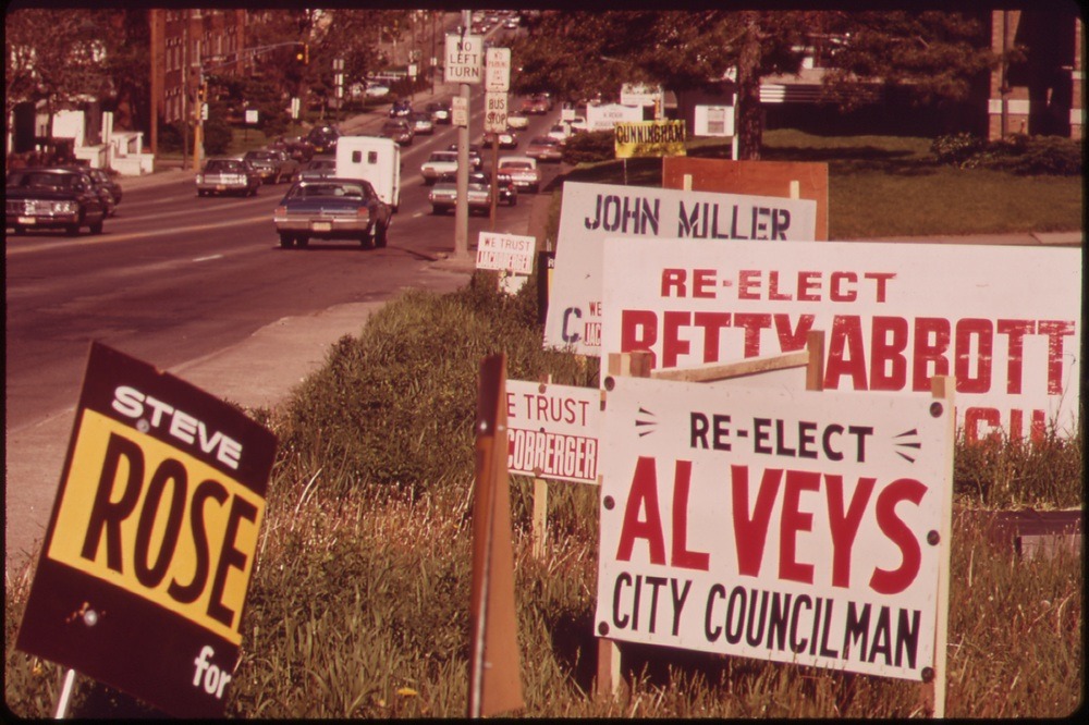 Political signs typically have no content and are a brainwashing technique.