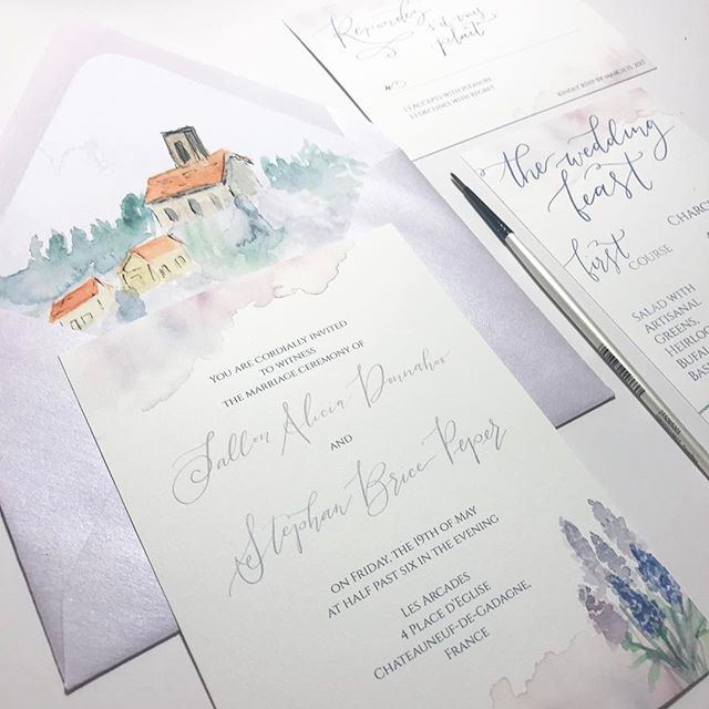 These beauties are on their way to France 🇫🇷 for a styled shoot there inspired by fields of lavender. So excited to see the photos! • #smallbusinessowner #creativepreneur #stationerydesign #risingtidesociety #bosslady #savvybusinessowner #jacksonvilleweddinginvitations #weddinginvitations #calledtobecreative #ohwowyes #creativityfound #weddingstationery #thatsdarling #pursuepretty #communityovercompetition #lovelysquares #watercolorandwhimsyweddings #micheleperrydesignco #handlettering #watercolorcalligraphy #flourishcreatives #moderncalligraphy #watercolorlettering #thedailytype