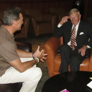 Joe interviewing Hall of Fame Coach Lou Holtz at the Staples Center.