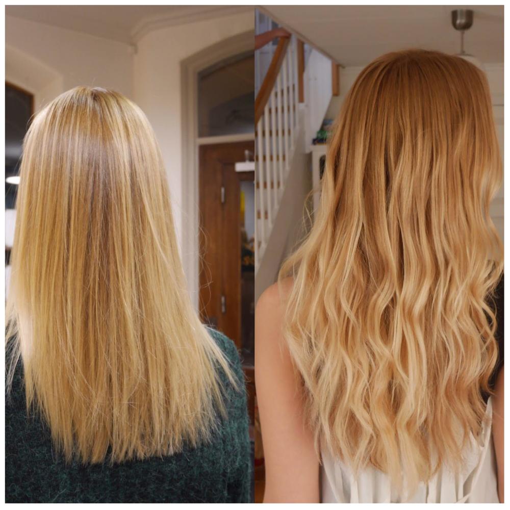 Före och efter Hairtalk hårförlängning på Emma Sandvik