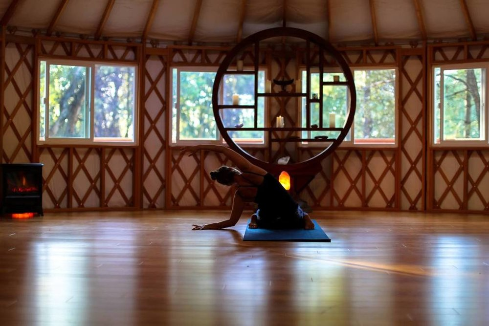 Inside our movement yurt…