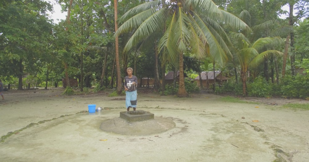 Tuwo: reliable wells on the reef islands are turning salty as sea levels rise.  SIWSAP has helped the community by installing a solar powered desalination unit, that turn salty water into fresh drinking water, so this well can continue to serve the community in the decades to come.