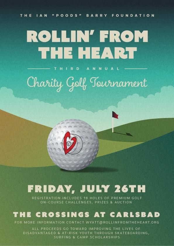The 3rd Annual RFTH Charity Golf Tournament - Please Join us Friday July 26th at The Crossings at CarlsbadTime: 12:30 PMLocation: The Crossings at CarlsbadAdmission cost: individual sign up $190, foursome $740, Guest Dinner $40Admission includes: Greens fee, Range balls, Golf cart, Bagged lunch, 2 on course beer tickets, Golf shirt, Swag bag and Dinner. All proceeds directly to the Rollin' From The Heart Foundation.Questions: Please contact Tournament Director Wyatt Moore at 760-579-8004  or wyatt@rollinfromtheheart.org