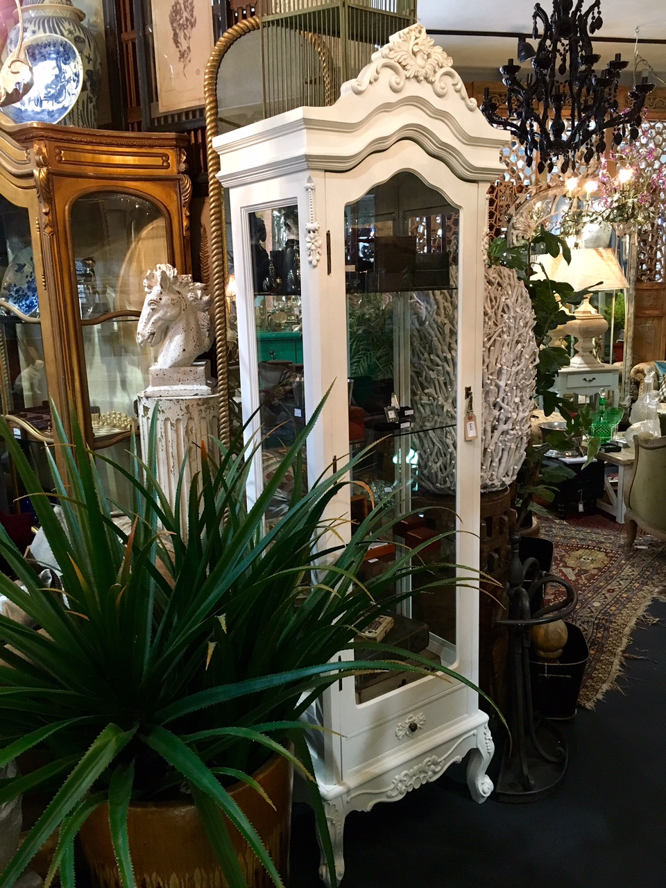 French Style White Glass Display Cabinet