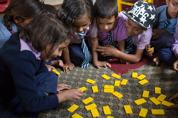 Nepalese children learning mathematic