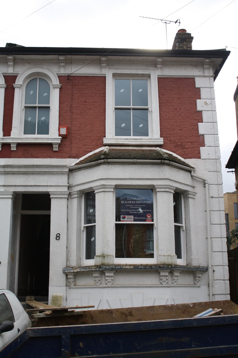 The existing property  - four floors of neglected victorian house worth £800K