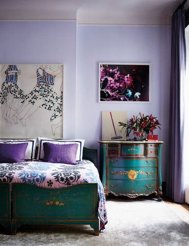 Soft violet teamed with teal - fabulous comination. Photography by Stephen Kent Johnson.