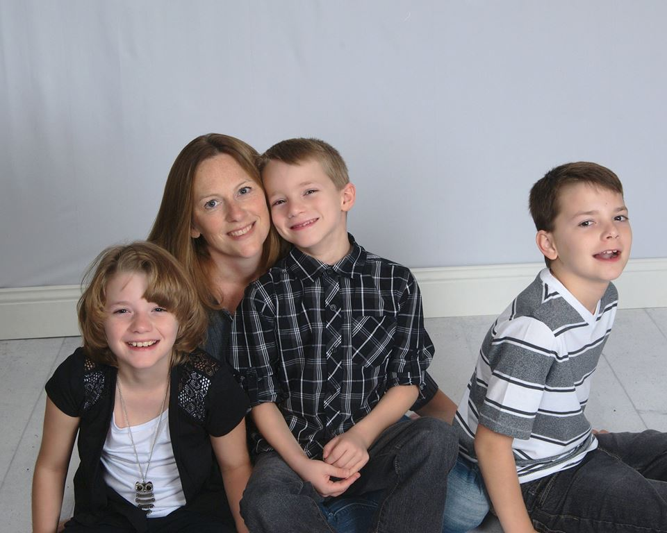 Stacy McCarrell Ruddick with her children Olivia (11), Denise (7), and Harrison (9)