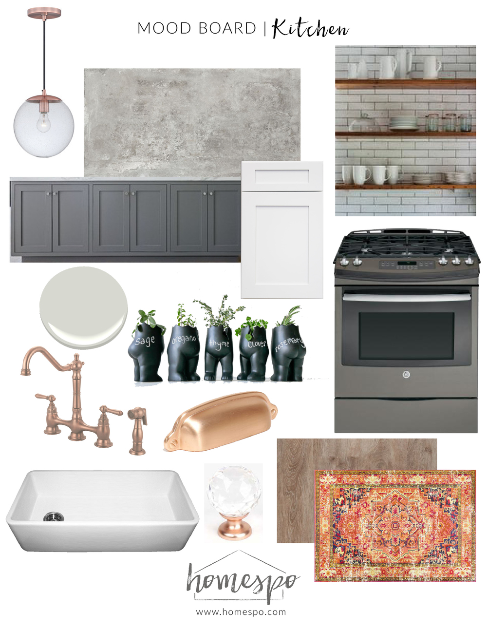 White Gray and Copper Kitchen Mood Board — S T U D I O | G ...