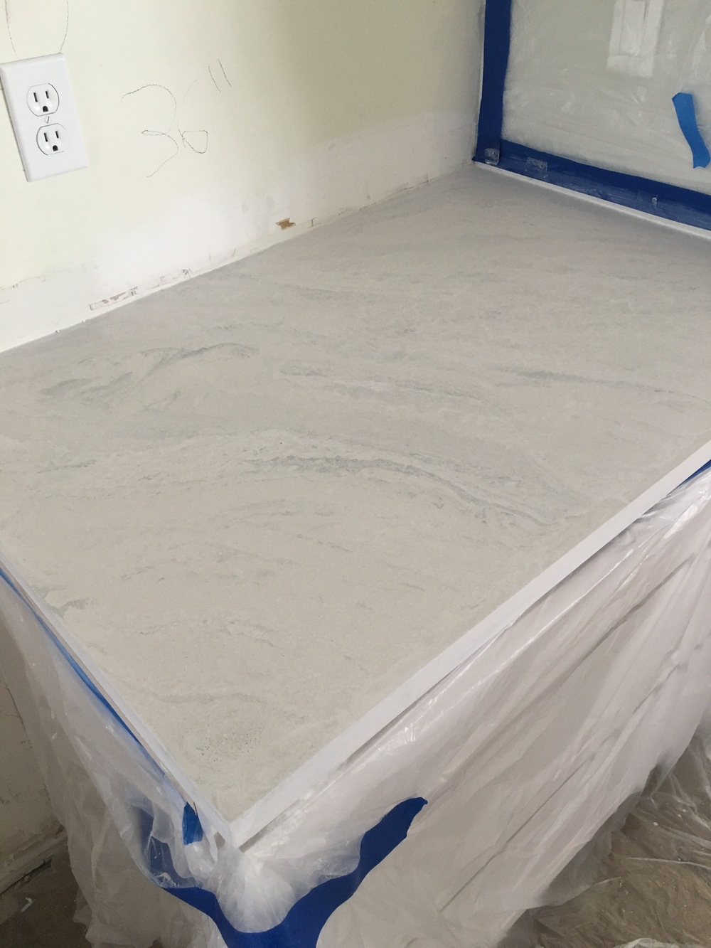 Concrete Countertops White with Gray Veining