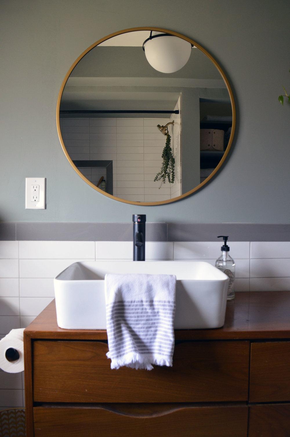 Warm Modern Midcentury Bathroom Renovation