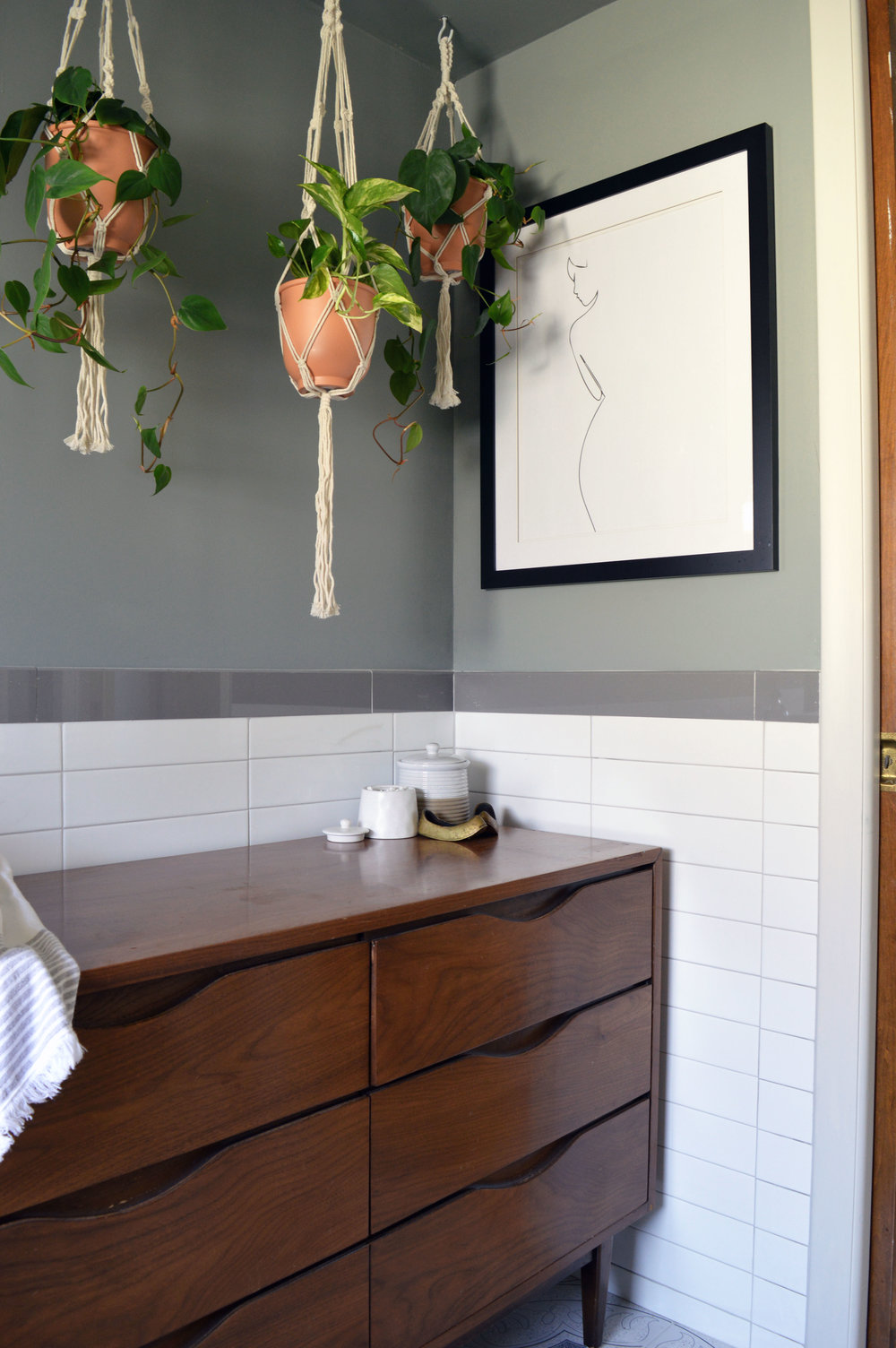 Orlando Interior Designer's Guest bathroom renovation with hanging planters