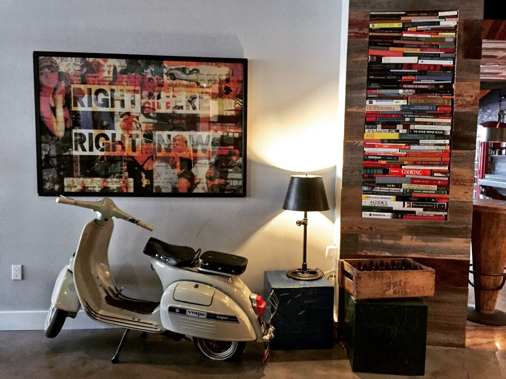 Retro props and colorful artwork/libraries in every corner.