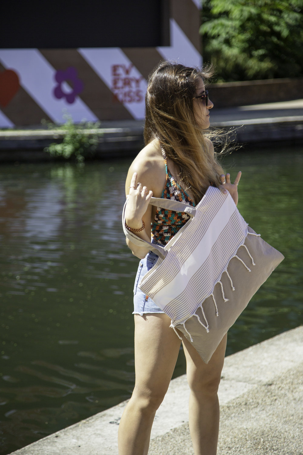 Lara Costa with the  Sandy Beach Bag , photographed by Pamela Aminou