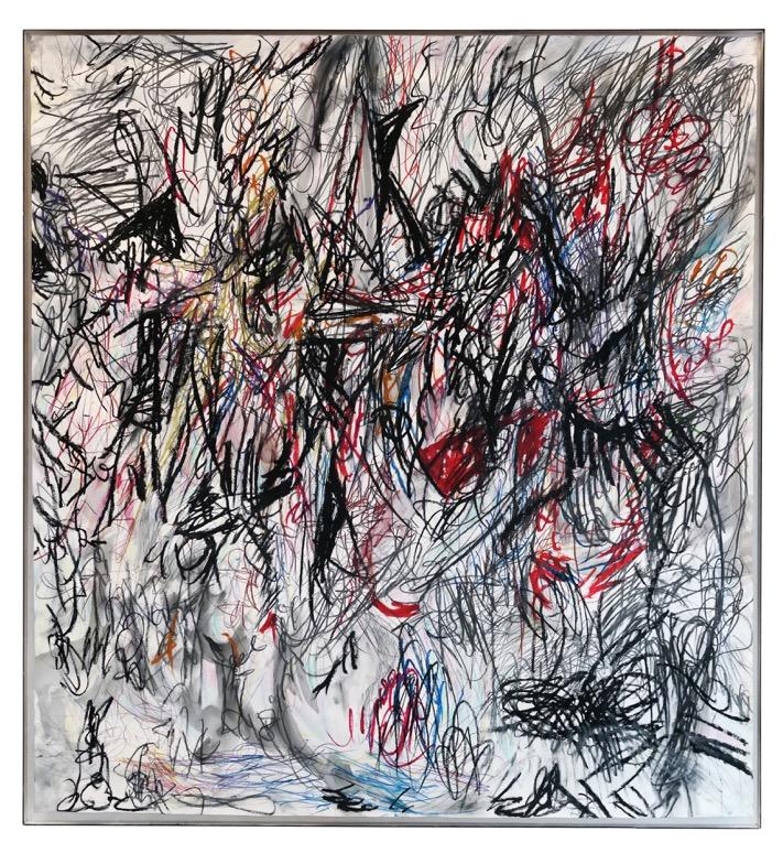 Carola Ernst, RA  IAquarell & Oilpastell, Colourpencil, Graphit on linen 130x120cm, 2014