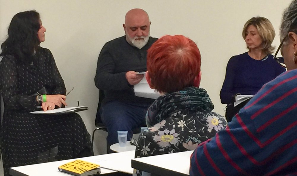 The Word Factory's Cathy Galvin with Alexei Sayle & Christina Lamb