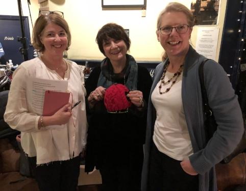 Me, Jo Unwin with a teapot & Emma Darwin