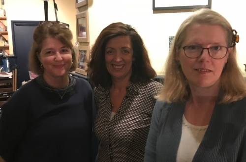 With Louise Doughty  (centre) and Emma Darwin (right)