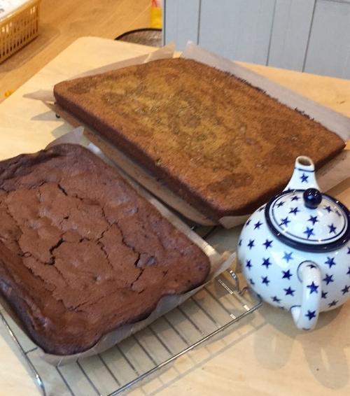 Brownies & Lemon & Poppy seed drizzle cake, in case you're wondering.