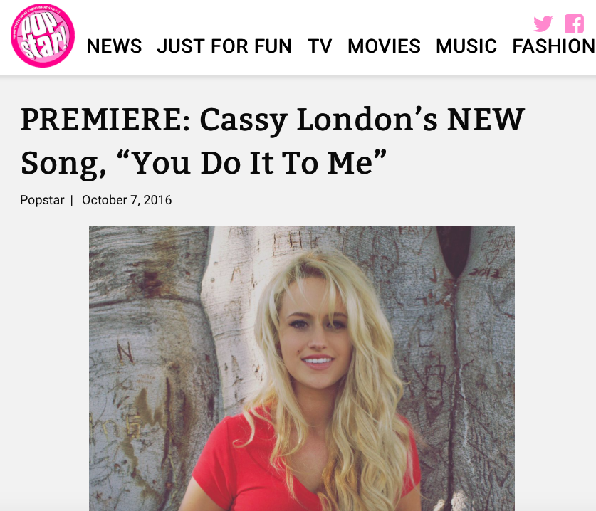 "PopStar Magazine - Happy #NewMusicFriday! In collaboration with The Daily Shuffle, we're giving you the premiere of Cassy London's brand new track, ""You Do It To Me""! It's probably our new favorite love song and there's a pretty good chance we'll have it on repeat ALL weekend! Check out the song below"