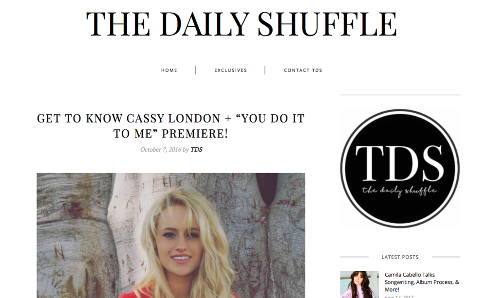 "The Daily Shuffle - Happy #NewMusicFriday! Today, we've got a very special treat for you – in collaboration with Popstar Mag, we're premiering Cassy London's brand new track, ""You Do It To Me""! It's everything you want to hear and will for sure be topping everyone's playlist this weekend. Check out the exclusive audio below and keep reading for our Q&A with her!"