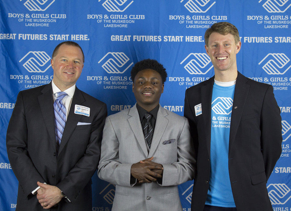 BGCML Board President and Muskegon County Prosecutor-DJ Hilson, 2017 YOY Winner-Antonio Thomas, and BGCML CPO-Dakota Crow