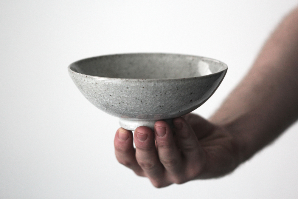 A one pound breakfast bowl with a crackle glaze.
