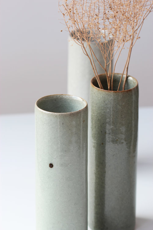 Large Vases White Green And Dark Green Crackle Glazes Florian Gadsby