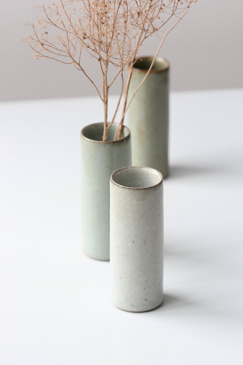 Set Of Three Vases With White Green And Dark Green Crackle Glazes