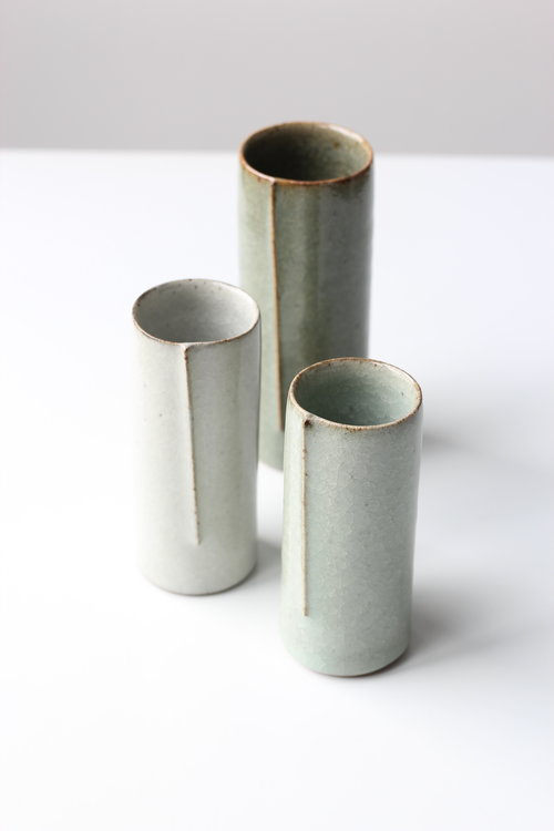 Set Of Three One Of Vases White Green And Dark Green Crackle