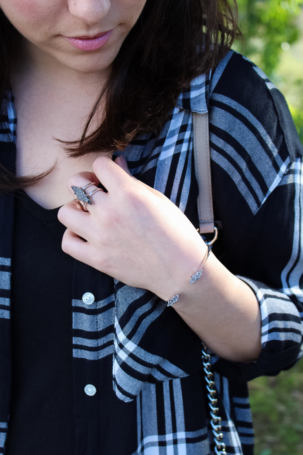 Kendra Scott Bianca Bracelet in Silver and Platinum Drusy and Kendra Scott Boyd Ring in Silver Platinum Drusy