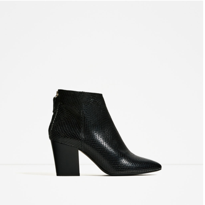 EMBOSSED LEATHER HIGH HEEL ANKLE BOOTS