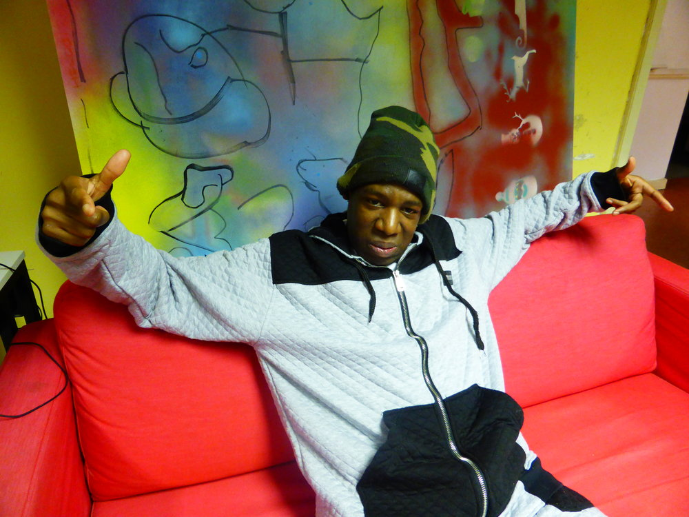 Delson the boss man chilling on the sofa at the studio