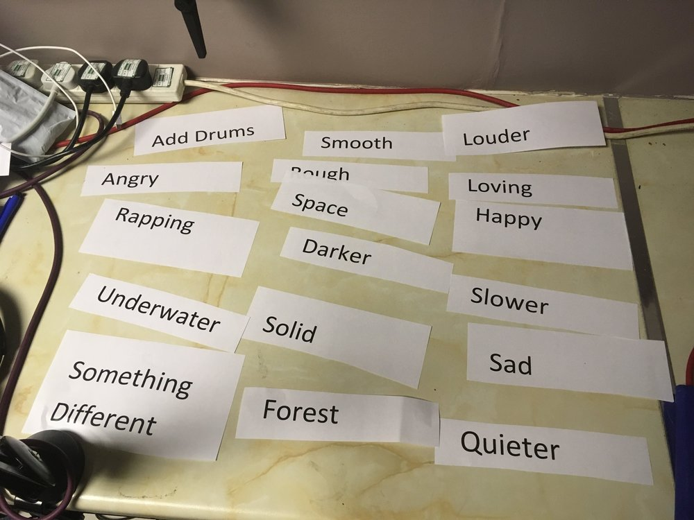 The printed words Delson and Mat used in their sessions