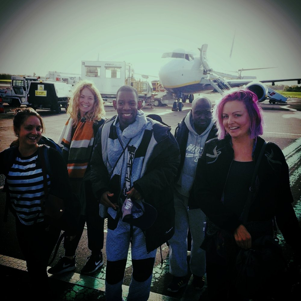 Kat, Rachel. Delson, Francis and Vicki at the airport