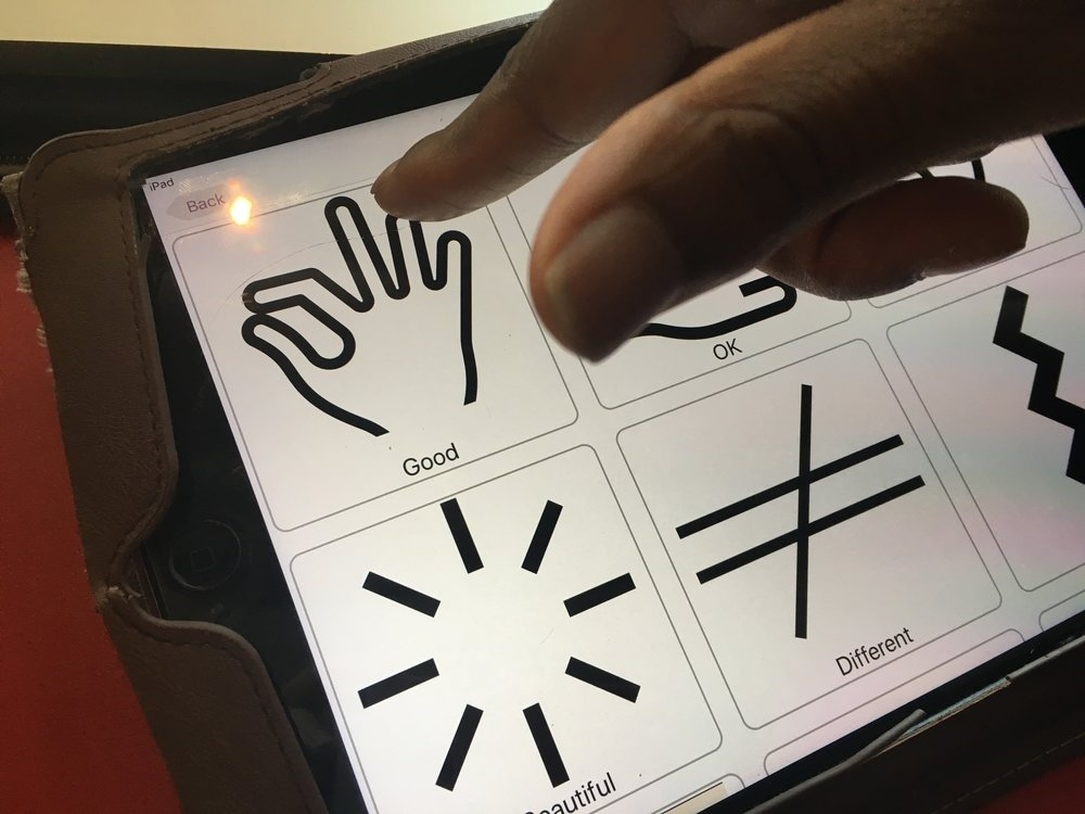 Delson using the Makaton Mychoice app on his iPad to communicate