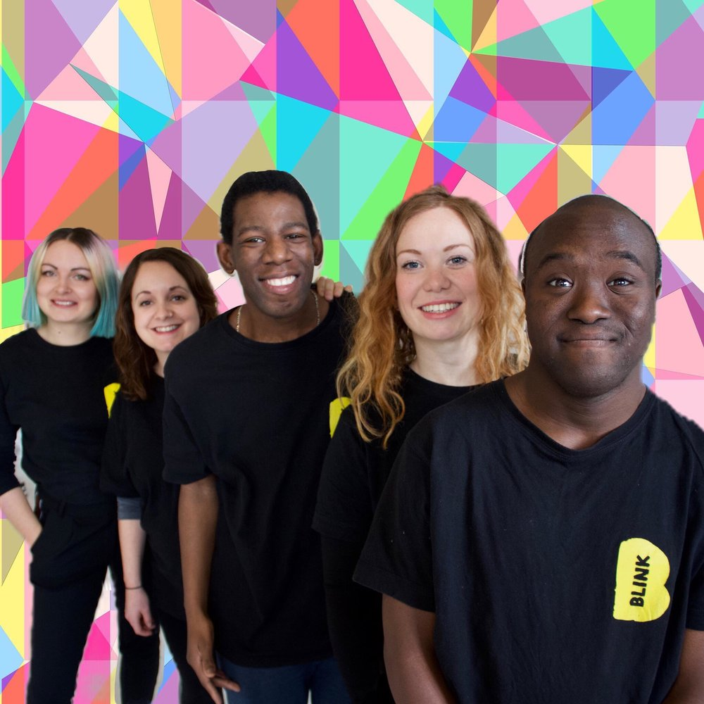 Photography: Travis Crowther aka The Modern Designer  [description] Vicki, Kat, Delson, Rachel and Francis are standing in a line with big smiles against a colourful geometric backdrop.