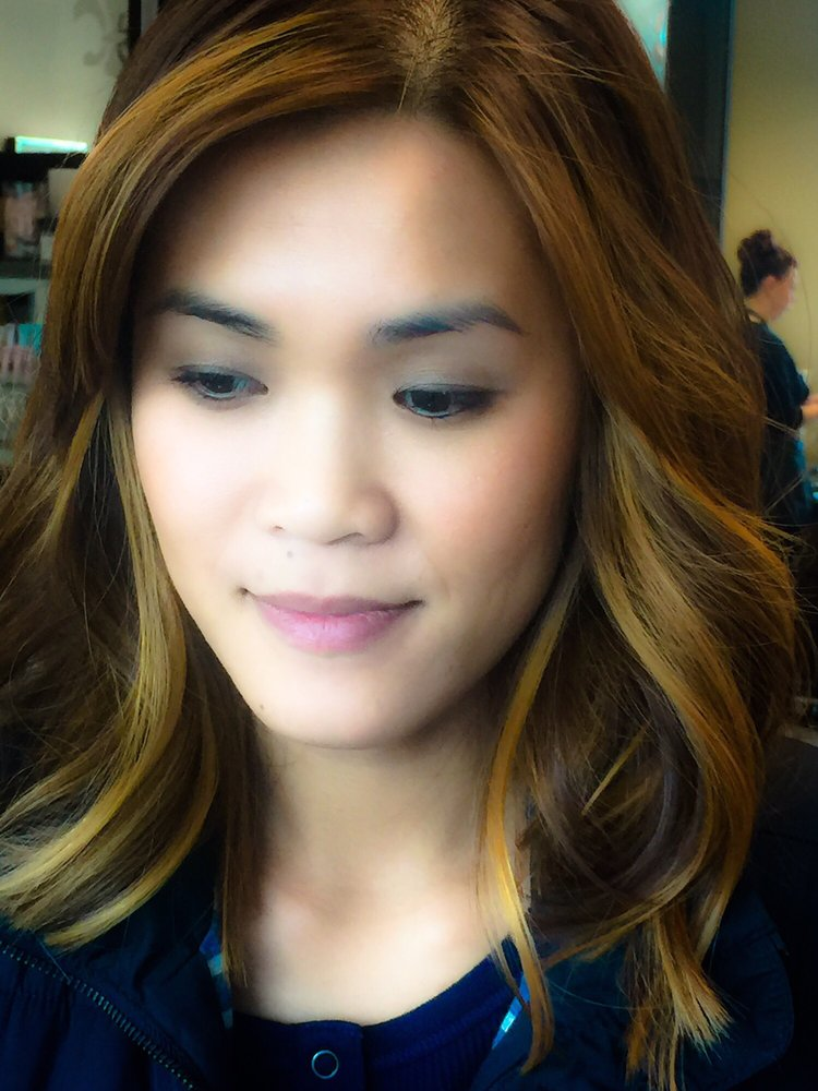 Sombre highlights and lob cut