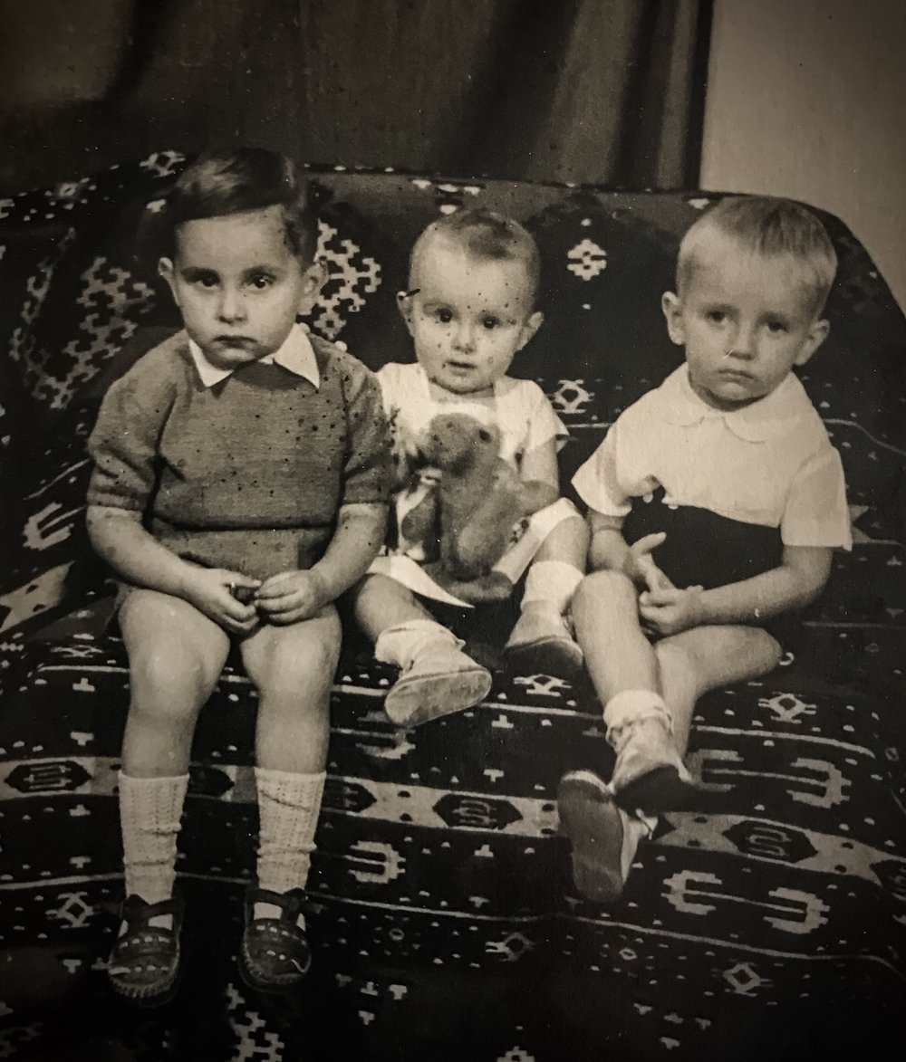 Me between brother Sasha on left and cousin Mima in Belgrade, then Yugoslavia, in 1950, just before we left forever.