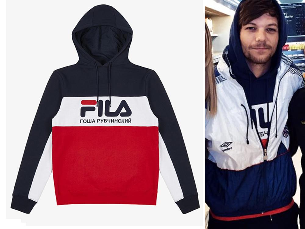 Louis Tomlinson in a Gosha Rubchinskiy x Fila hoodie.