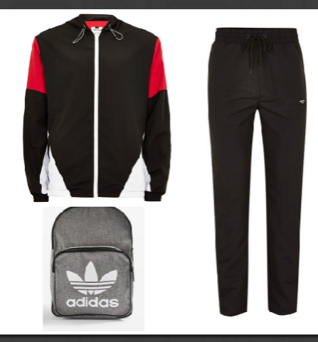 Jacket, joggers by  Topman . Backpack by  Adidas .