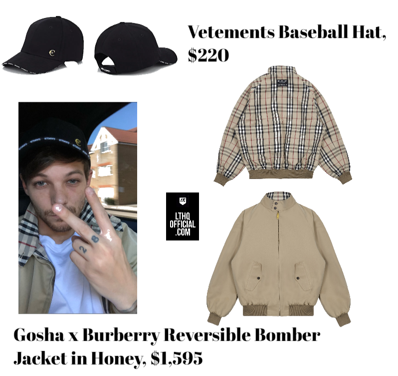 565f0711718 9 22 18 Saturday Swag  Louis Tomlinson in Gosha x Burberry Reversible  Bomber and Vetements Hat — LTHQ Official