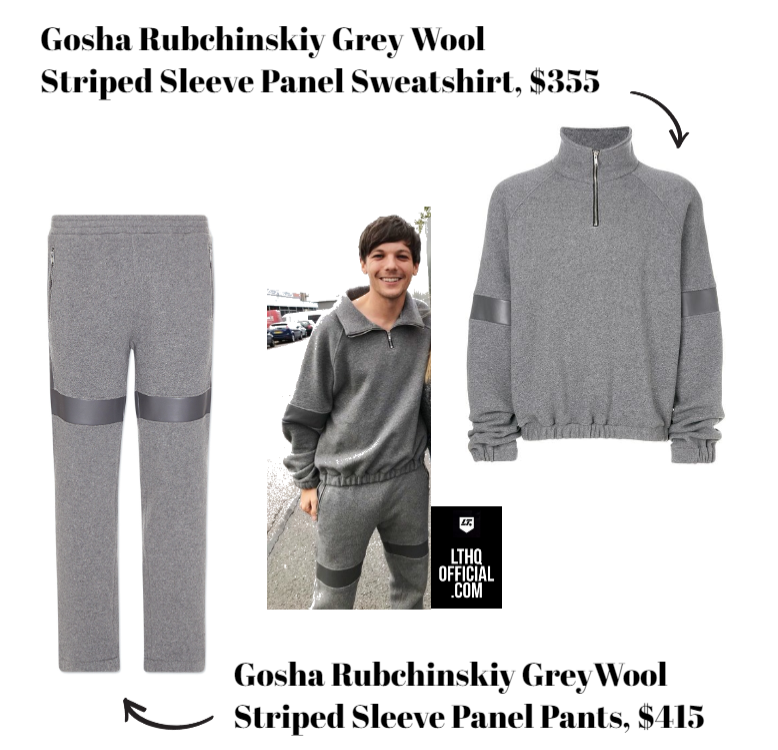 9916cf9f1cd Louis Tomlinson was spotted in Gosha Rubchinskiy grey wool striped sleeve  panel sweatshirt ( 355) and pants ( 415) from the Fall 2017 menswear  collection.