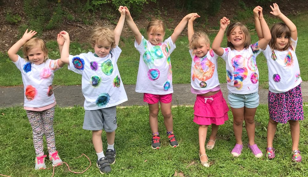 Showing off our Sharpie tie dyed tee shirts