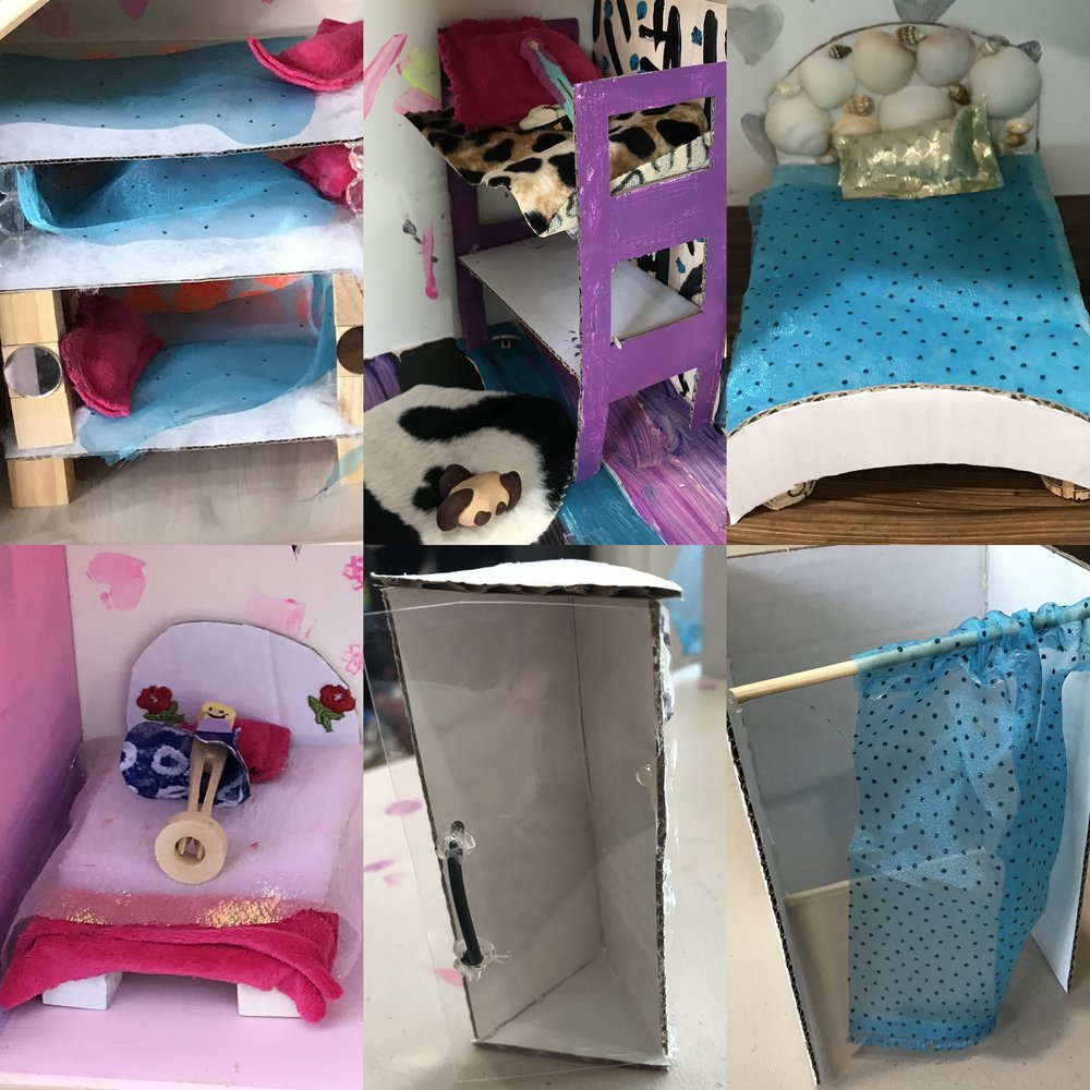 Closeups - some of the imaginative beds and showers made in last year's camps.