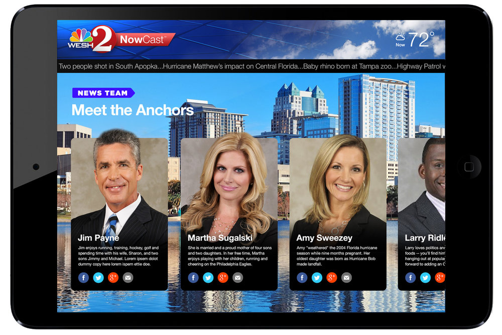 News Team  module allows audience to follow, text and connect with their favorite on-air anchors.