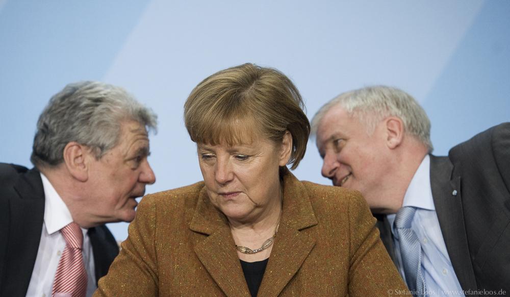 Joachim Gauck, Angela Merkel und Horst Seehofer
