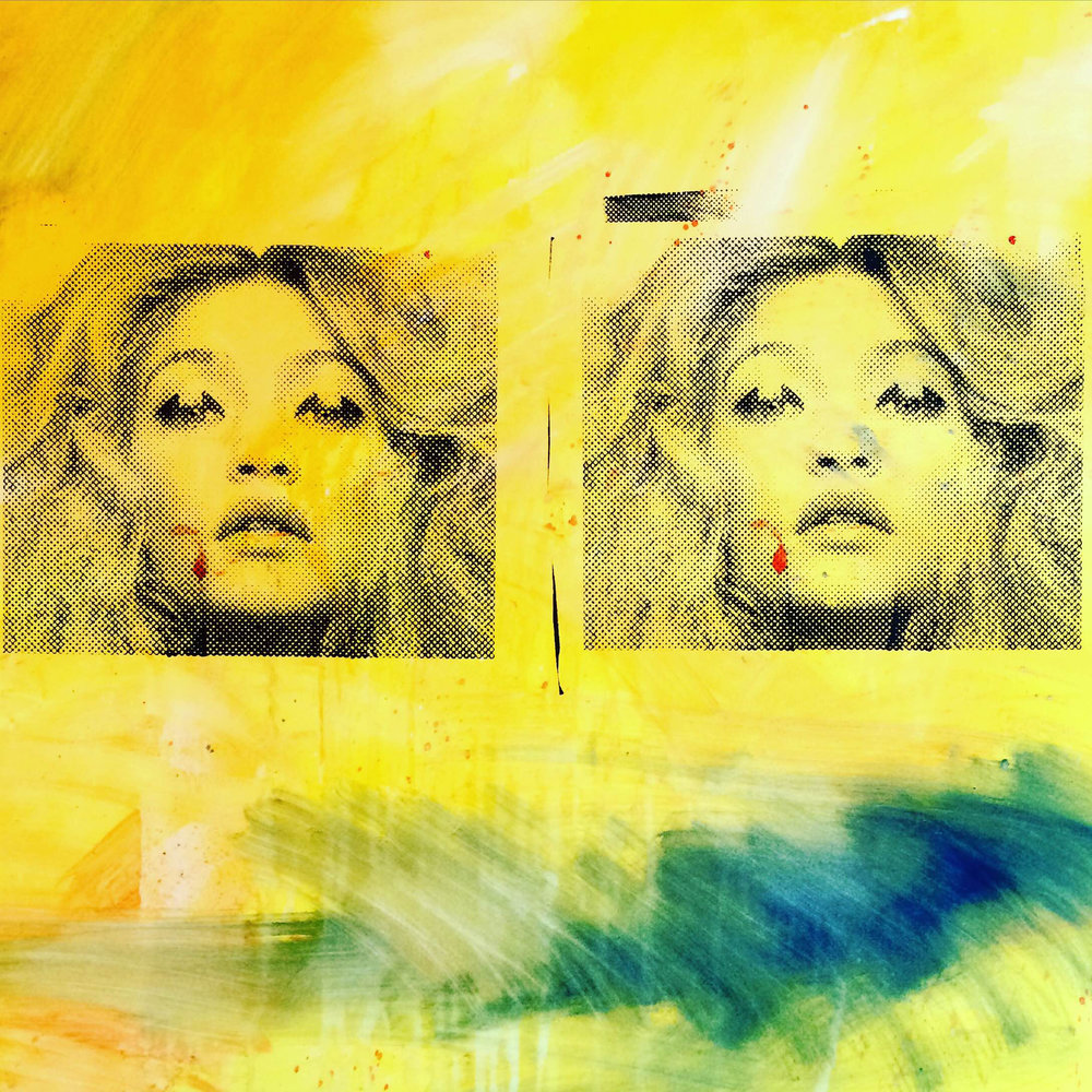 Gigi, oil and silk screen on canvas, 100 x 100 cm