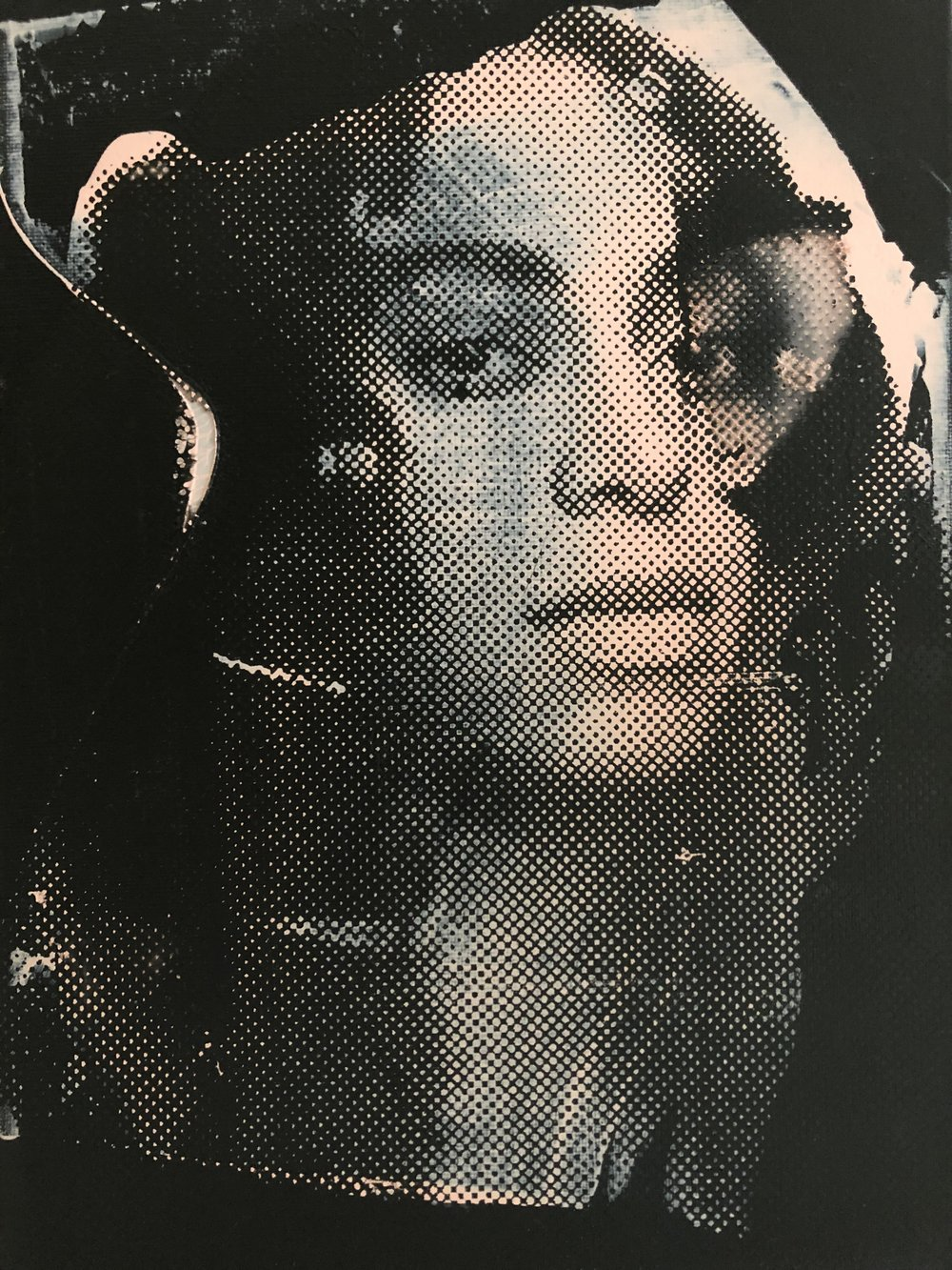 Solange, acrylic, spray paint and screen print on canvas, 40 x 50 cm