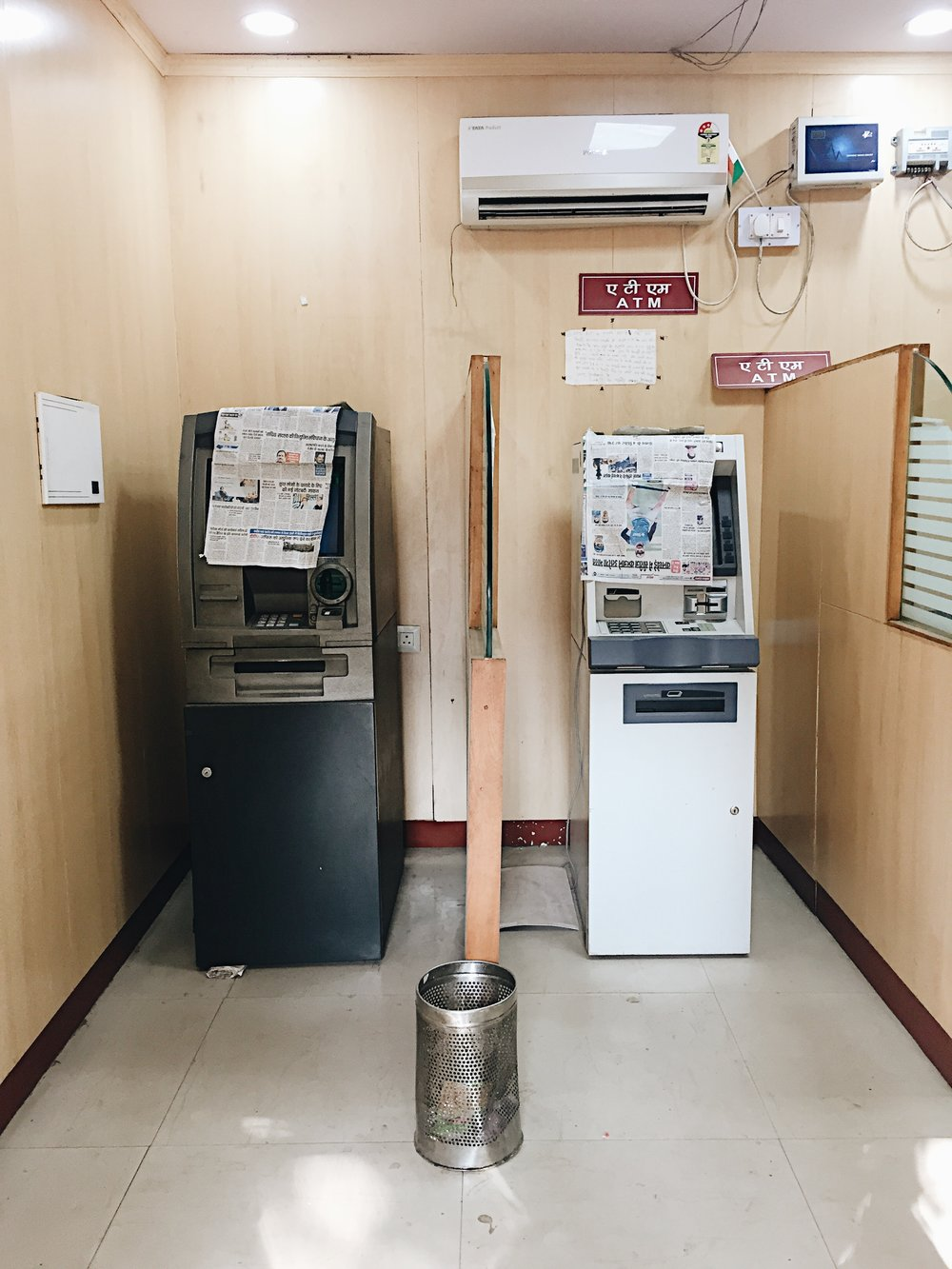 Most ATMs looked like this. Disabled and empty of cash.